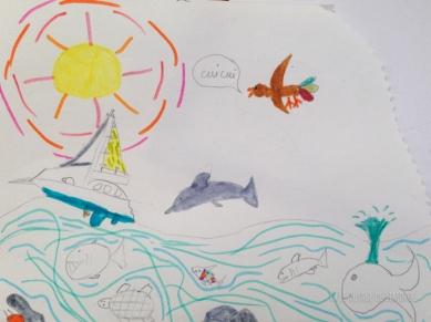 Camille est inspirée pour dessiner